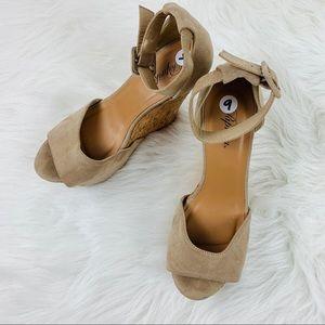 PAPRIKA Ankle Strap Wedge Sandals Tan Size 9
